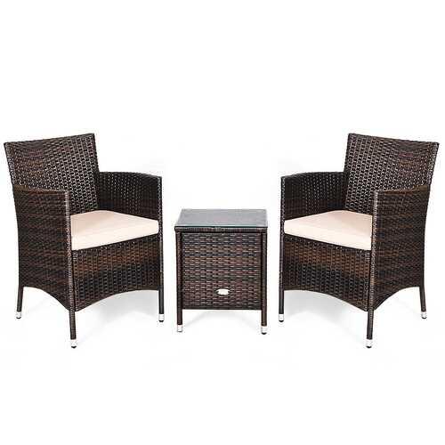 3 pcs Outdoor Rattan Wicker Furniture Set-Beige