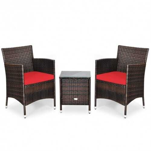 3 Pcs Outdoor Rattan Wicker Furniture Set-Red - Color: Red