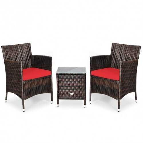 3 pcs Outdoor Rattan Wicker Furniture Set-Red