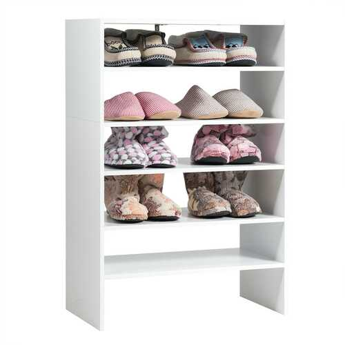 3 pcs 24-Inch 2-tier  Horizontal Stackable Shoe Rack-White