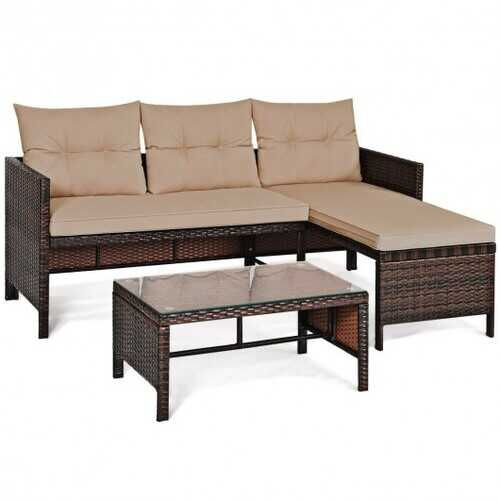 3 Piece Patio Wicker Rattan Sofa Set - Color: Beige