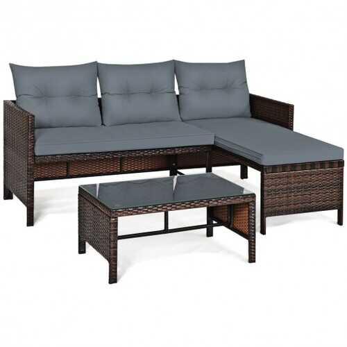 3 Piece Patio Wicker Rattan Sofa Set-Gray - Color: Gray