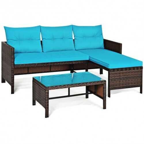 3 Piece Patio Wicker Rattan Sofa Set-Turquoise - Color: Turquoise