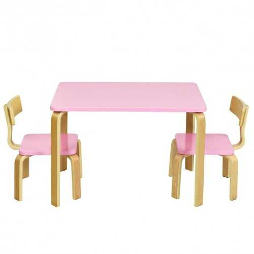 3 Piece Kids Wooden Activity Table and 2 Chairs Set-Pink - Color: Pink