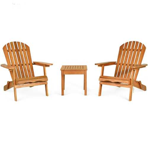 3 PCS Adirondack Chair Set w/ Widened Armrest