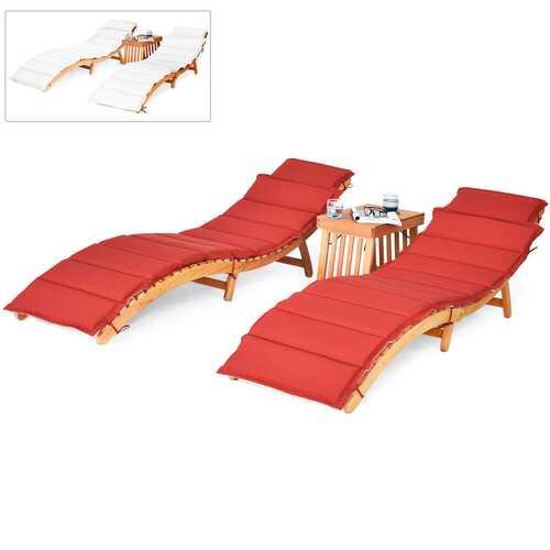 3PCS Wooden Folding Patio Lounge Chair Table Set