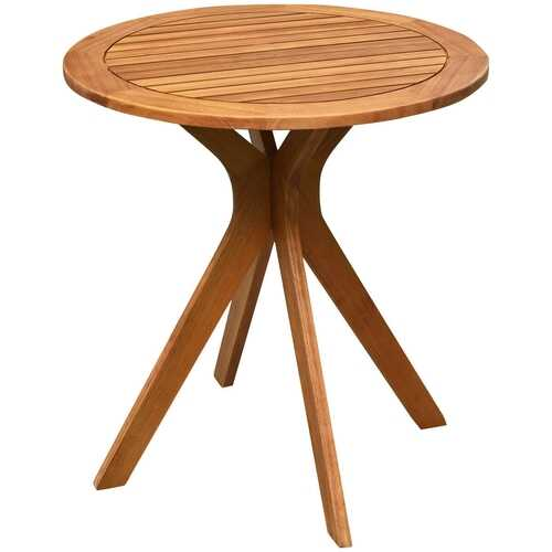 """27"""" Outdoor Round Solid Wood Coffee Side Bistro Table"""