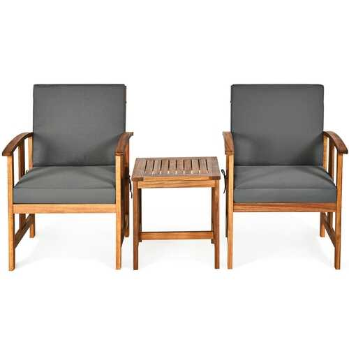 3PC Solid Wood Outdoor Patio Sofa Furniture Set-Gray - Color: Gray