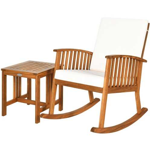 2PCS Acacia Wood Patio Rocking Chair Table Set