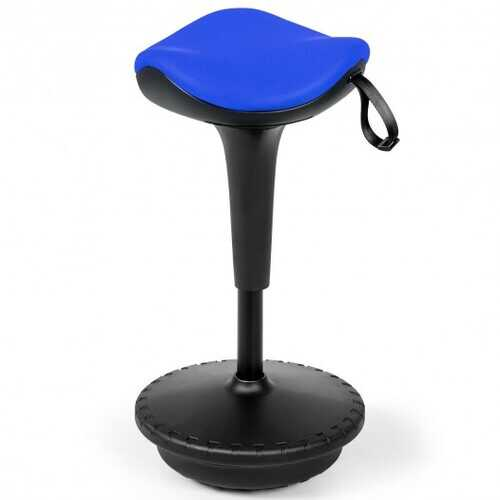 Adjustable Swivel Sitting Balance Wobble Stool Standing Desk Chair-Blue