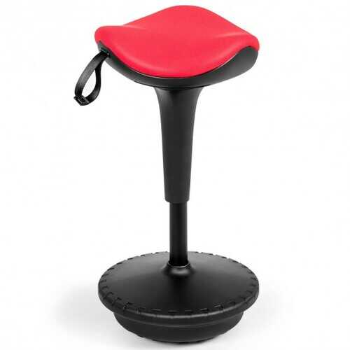 Adjustable Swivel Sitting Balance Wobble Stool Standing Desk Chair-Red
