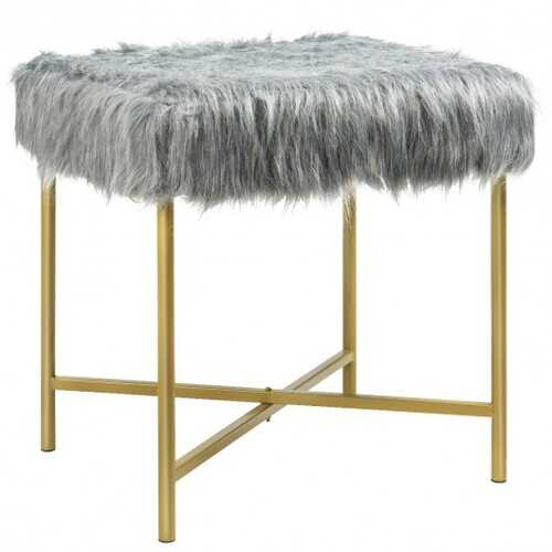 Faux Fur Ottoman Decorative Stool with Metal Legs