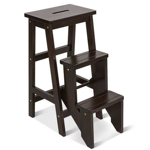 3 Tier Step Stool 3 in 1 Folding Ladder Bench-Brown