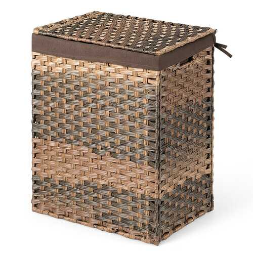 Removable Liner Bag Synthetic Rattan Basket Handwoven Laundry Hamper-Brown