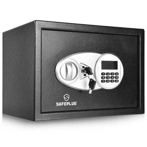 2-Layer Safe Deposit Box with Digital Keypad - Color: Black