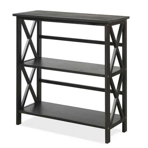 3-Tier Wooden Open Shelf Bookcase with X-Design-Black
