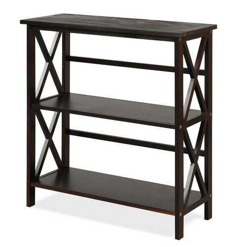 3-Tier Wooden Open Shelf Bookcase with X-Design-Coffee