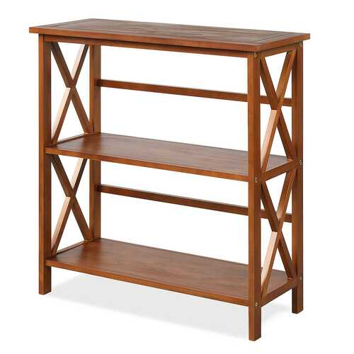 3-Tier Wooden Open Shelf Bookcase with X-Design-Natural