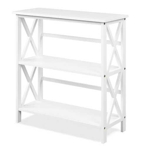 3-Tier Wooden Open Shelf Bookcase with X-Design-White