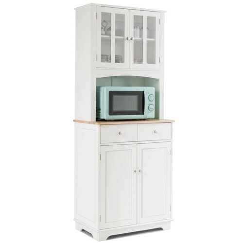 Buffet and Hutch Kitchen Storage Cabinet-White