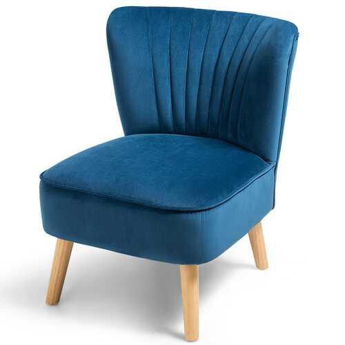 Armless Accent Chair Modern Velvet Leisure Chair-Blue