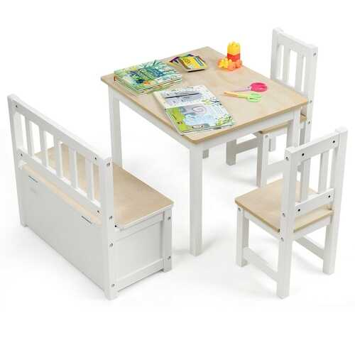 4 PCS Kids Wood Table Chairs Set -Natural
