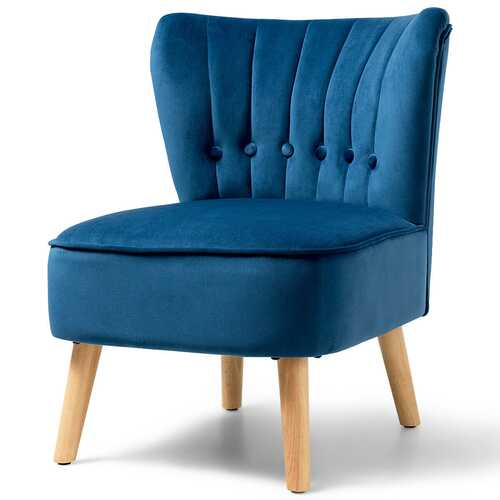 Armless Accent Chair Tufted Velvet Leisure Chair-Blue