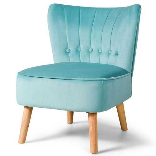 Armless Accent Chair Tufted Velvet Leisure Chair-Green