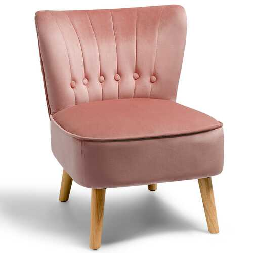 Armless Accent Chair Tufted Velvet Leisure Chair-Pink