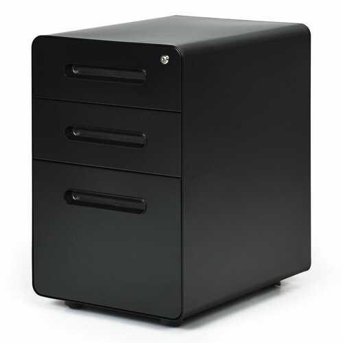 3-Drawer Mobile File Cabinet with Anti-tilt Mechanism Legal-Black