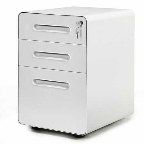 3-Drawer Mobile File Cabinet with Anti-tilt Mechanism Legal-White