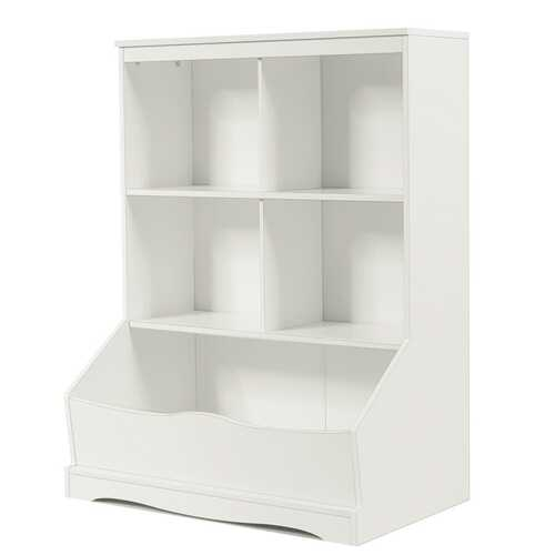 3-Tier Children's Multi-Functional Bookcase Toy Storage Bin Floor Cabinet-White