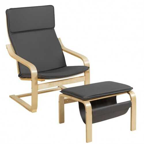 Relax Bentwood Lounge Chair  Set with Magazine Rack-Gray