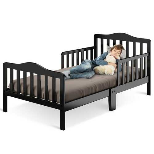Classic Kids Wood Bed with Guardrails-Black