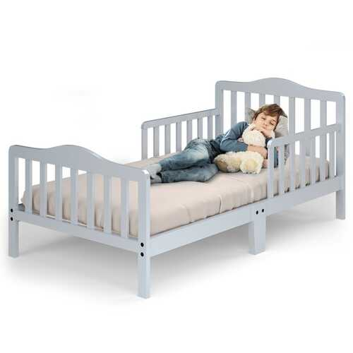 Classic Kids Wood Bed with Guardrails-Gray