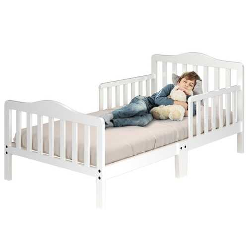 Classic Kids Wood Bed with Guardrails-White