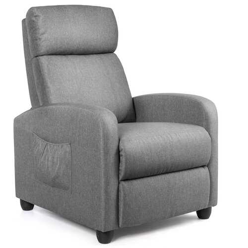 Recliner Sofa Wingback Chair with Massage Function-Gray