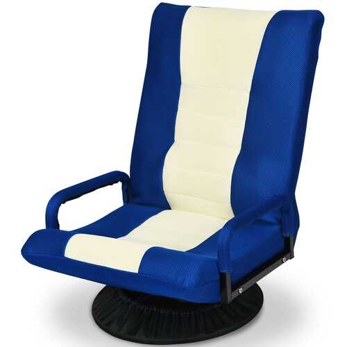 6-Position Adjustable Swivel Folding Gaming Floor Chair-Blue