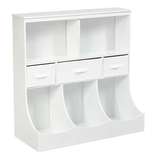 Freestanding Combo Cubby Bin Storage Organizer Unit W/3 Baskets-White