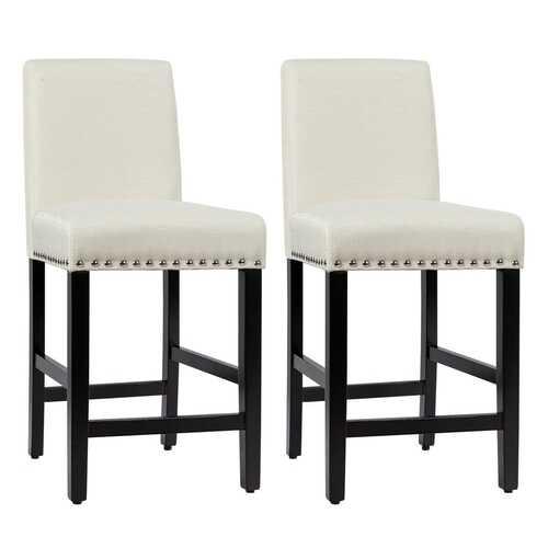 25'' Kitchen Chairs w/ Rubber Wood Legs-Beige