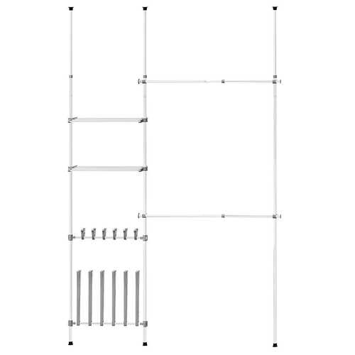 2 Tier Telescopic Clothes Hangers with Shoe Rack & Shelf