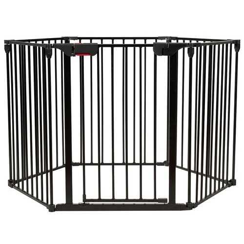 6 Panel Wall-mount Adjustable Baby Safe Metal  Fence Barrier-Black