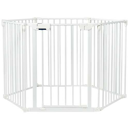 6 Panel Wall-mount Adjustable Baby Safe Metal  Fence Barrier-White