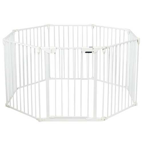 Adjustable  Panel Baby Safe Metal Gate Play Yard-White
