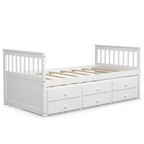 Alternative Twin Captain's Bunk Bed-White