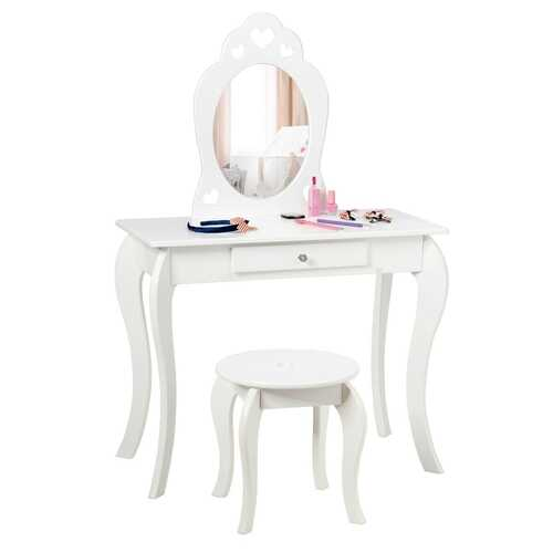 Kids Princess Makeup Dressing Play Table Set with Mirror -White