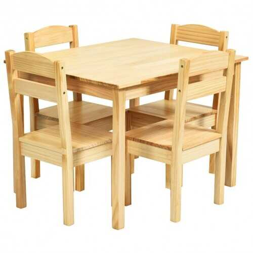 5 pcs Kids Pine Wood Table Chair Set-Natural
