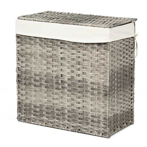 Hand-woven Foldable Rattan Laundry Basket-Gray