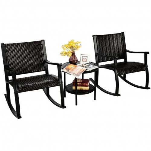3 Pcs Patio Rattan Furniture Set with Coffee Table and Rocking Chairs