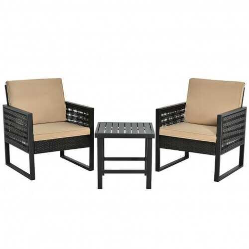 3Pcs Patio Rattan Bistro Cushioned Furniture Set